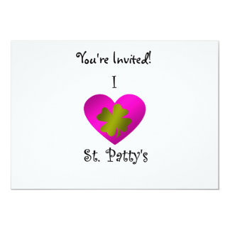 "I heart Saint patty's in gold and pink 5"" X 7"" Invitation Card"