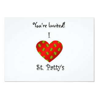 "I heart Saint patty's in gold and red 5"" X 7"" Invitation Card"