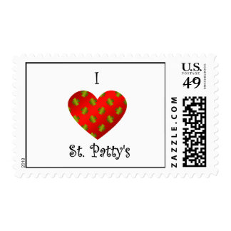 I heart Saint patty's in gold and red Stamps