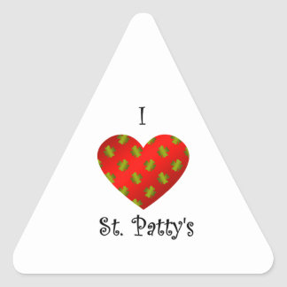 I heart Saint patty's in gold and red Triangle Sticker