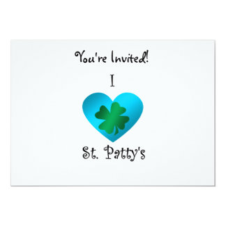 "I heart Saint patty's in green and blue 5"" X 7"" Invitation Card"