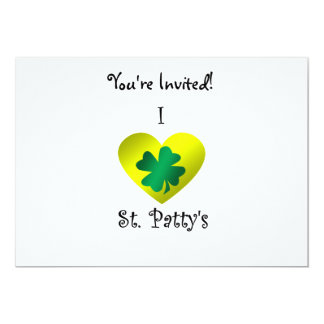 "I heart Saint patty's in green and gold 5"" X 7"" Invitation Card"