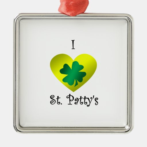 I heart Saint patty's in green and gold Square Metal Christmas Ornament