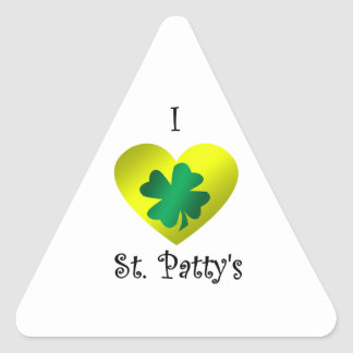 I heart Saint patty's in green and gold Triangle Sticker