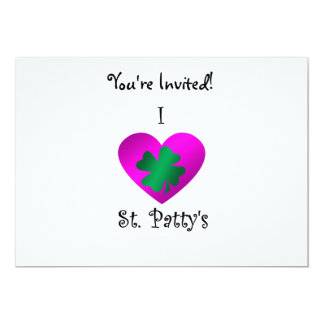 "I heart Saint patty's in green and purple 5"" X 7"" Invitation Card"