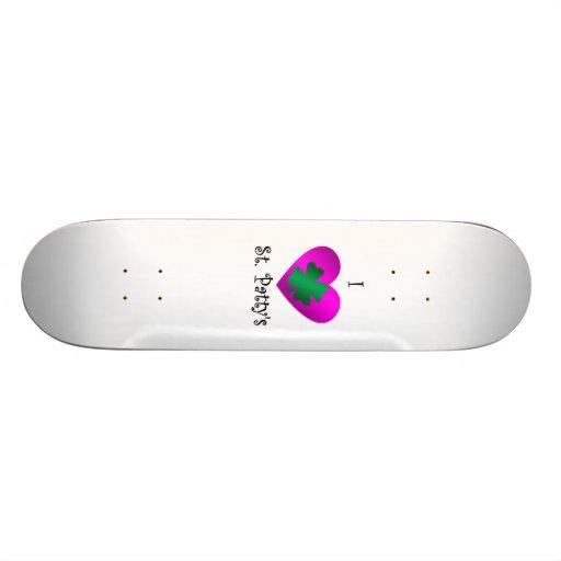 I heart Saint patty's in green and purple Skate Board Decks