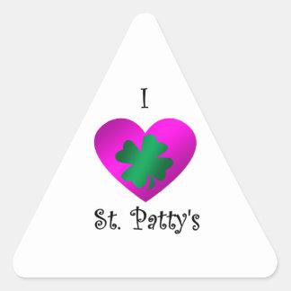 I heart Saint patty's in green and purple Triangle Sticker