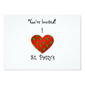 "I heart Saint patty's in green and red 5"" X 7"" Invitation Card"