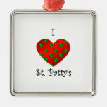 I heart Saint patty's in green and red Ornament