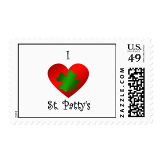I heart Saint patty's in green and red Stamps