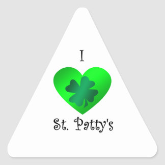 I heart saint patty's in green on green triangle sticker