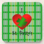 I heart saint patty's on gold green plaid drink coasters