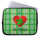 I heart saint patty's on gold green plaid laptop sleeves