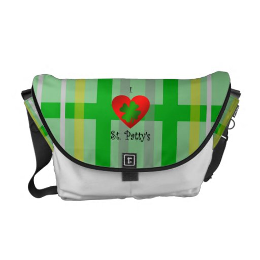I heart saint patty's on gold green plaid courier bags
