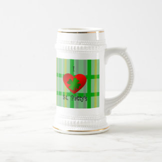 I heart saint patty's on gold green plaid 18 oz beer stein
