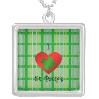 I heart saint patty's on gold green plaid square pendant necklace