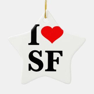 I Heart San Francisco Double-Sided Star Ceramic Christmas Ornament