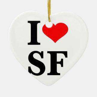 I Heart San Francisco Double-Sided Heart Ceramic Christmas Ornament
