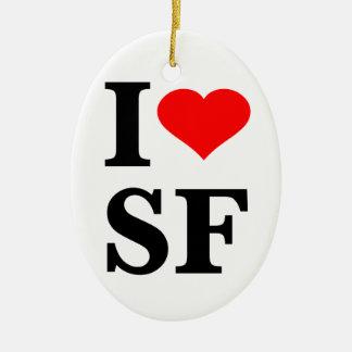 I Heart San Francisco Double-Sided Oval Ceramic Christmas Ornament