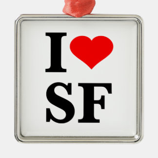 I Heart San Francisco Square Metal Christmas Ornament