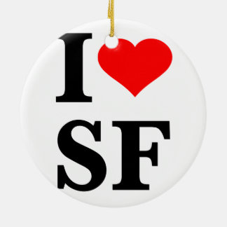 I Heart San Francisco Double-Sided Ceramic Round Christmas Ornament