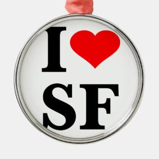 I Heart San Francisco Round Metal Christmas Ornament