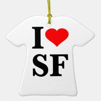 I Heart San Francisco Double-Sided T-Shirt Ceramic Christmas Ornament