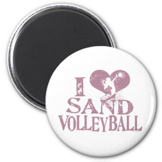 I Heart Sand Volleyball 2 Inch Round Magnet