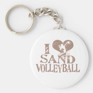 I Heart Sand Volleyball Basic Round Button Keychain