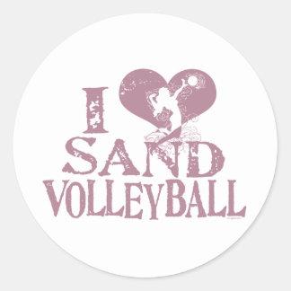 I Heart Sand Volleyball Classic Round Sticker