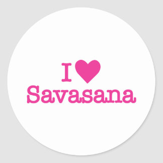 I heart savasana yoga corpse pose classic round sticker