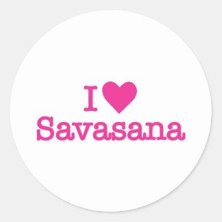 I heart savasana yoga corpse pose classic round sticker