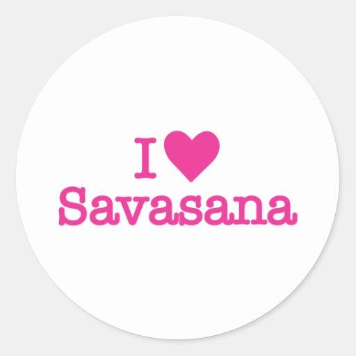 I heart savasana yoga corpse pose round stickers