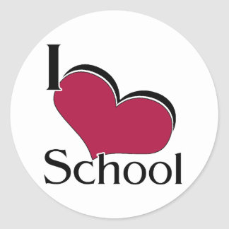 """I """"heart"""" School Round Sticker"""