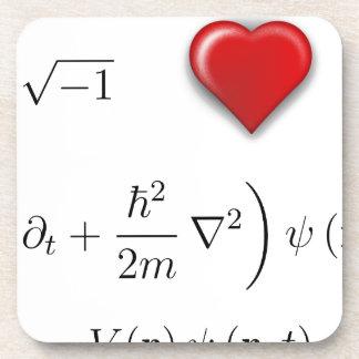 I heart Schrodinger equation Beverage Coasters
