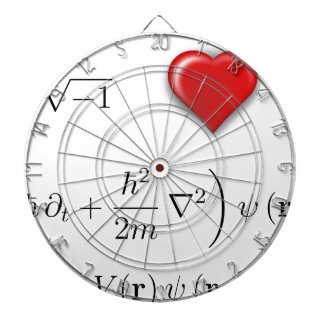 I heart Schrodinger equation Dartboard With Darts
