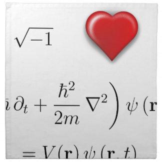 I heart Schrodinger equation Printed Napkins