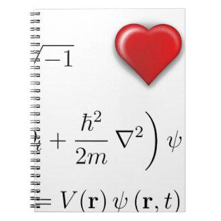 I heart Schrodinger equation Spiral Notebook