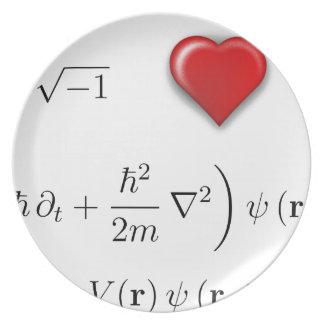 I heart Schrodinger equation Dinner Plate