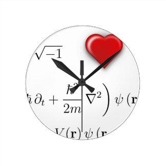 I heart Schrodinger equation Round Clock