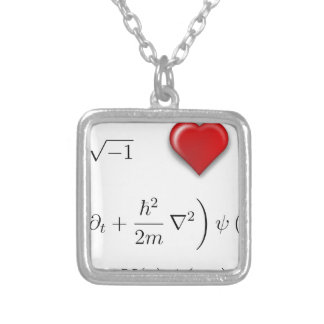 I heart Schrodinger equation Silver Plated Necklace