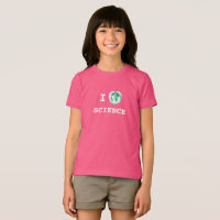 I Heart Science Girls T-Shirt World Map Watercolor