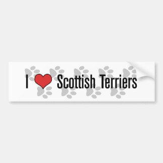 I (heart) Scottish Terriers Car Bumper Sticker