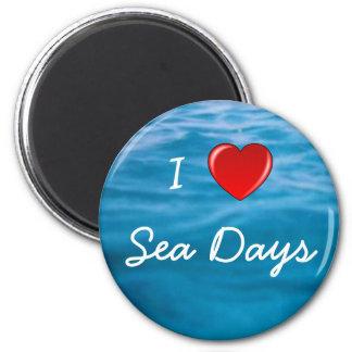 I Heart Sea Days 2 Inch Round Magnet