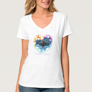 I heart Sea Otters colorful ladies tee shirt