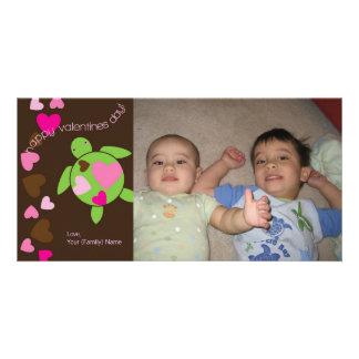 I Heart Sea Turtles Valentines Photo Card 4 x 8
