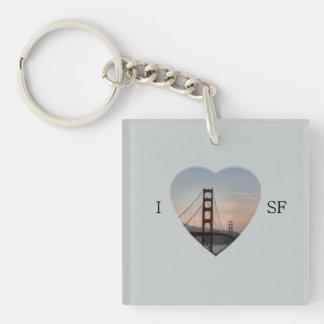 I Heart SF Single-Sided Square Acrylic Keychain