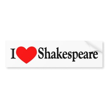 Valentines Themed I Heart Shakespeare Bumper Sticker