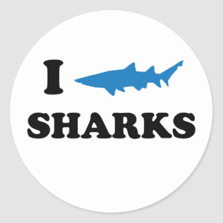 I Heart Sharks Classic Round Sticker