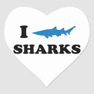 I Heart Sharks Heart Sticker